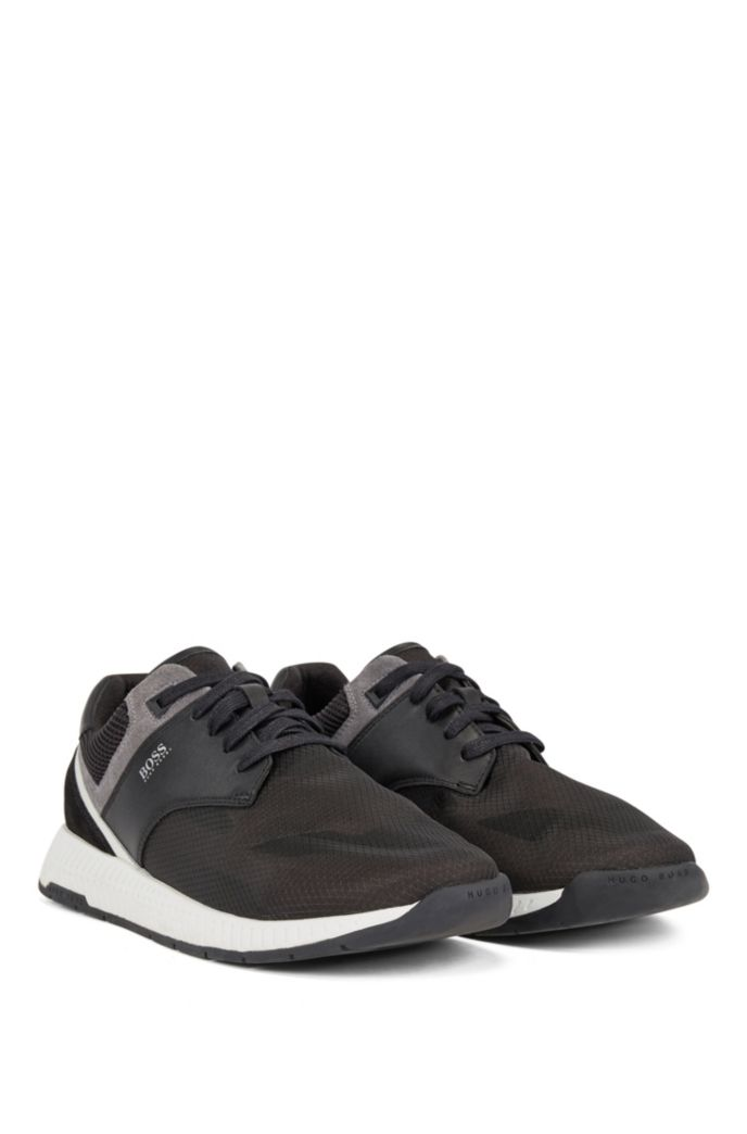 Low-top trainers with suede and nappa leather