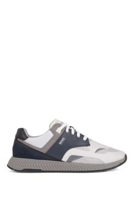 Low-top trainers with suede and nappa leather, Open Blue