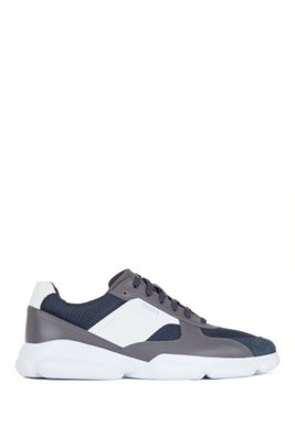 Low-top trainers in leather with open-mesh panels, Open Grey