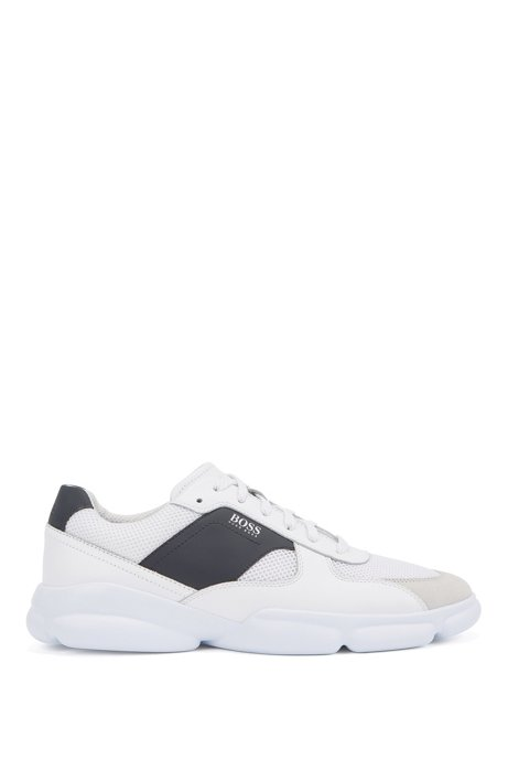 Low-top trainers in leather with open-mesh panels, White