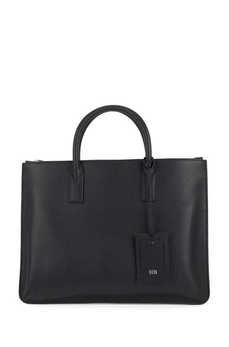 Italian-made slim document case in embossed leather, Black