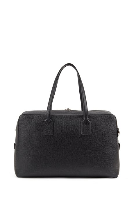 Large holdall in embossed Italian leather, Black