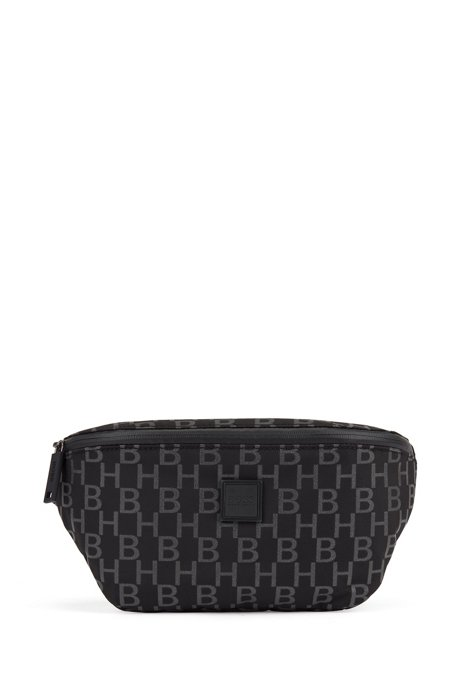 Monogram-print belt bag in structured nylon, Black