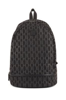 Structured-nylon backpack with monogram print, Black