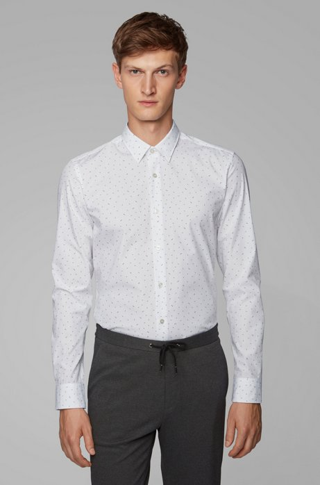 Slim-fit shirt in cotton with exclusive print, Grey