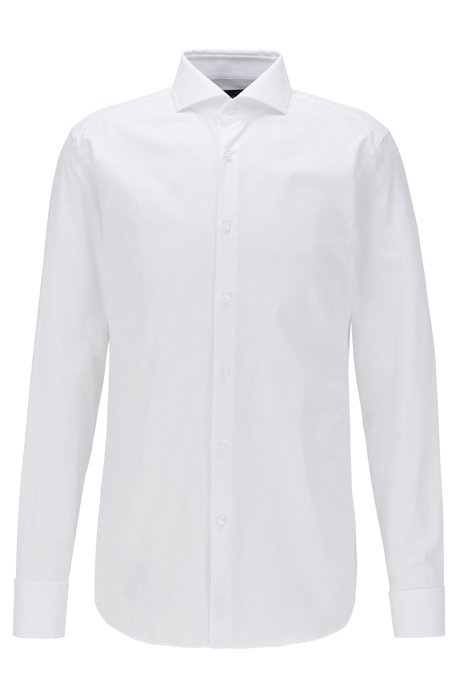 Slim-fit shirt in Italian cotton with double cuffs, White