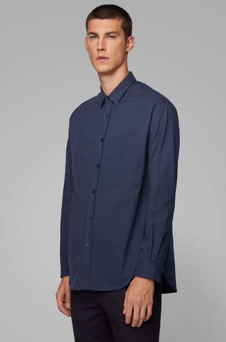 Relaxed-fit shirt in Italian cotton twill, Dark Blue