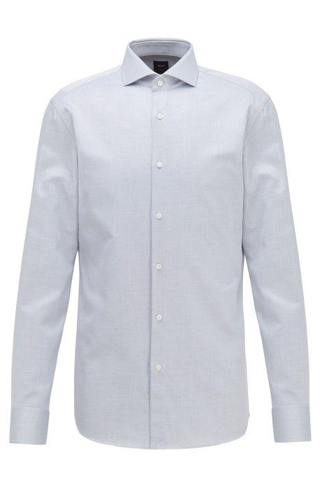 Slim-fit shirt in Italian micro-structured cotton twill, Dark Blue