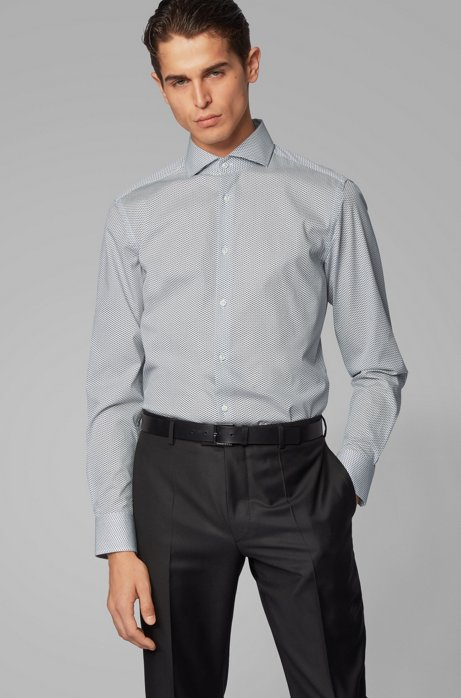 Slim-fit shirt in stretch cotton with printed motif, Dark Blue
