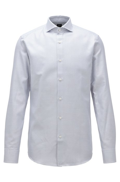 Slim-fit shirt in houndstooth cotton with spread collar, Grey