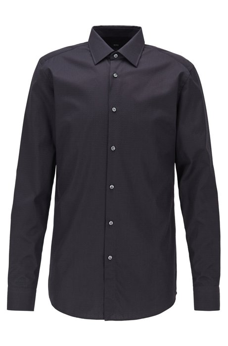 Slim-fit shirt in cotton with monogram jacquard, Black