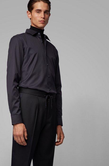 Slim-fit shirt in cotton with monogram jacquard, Black