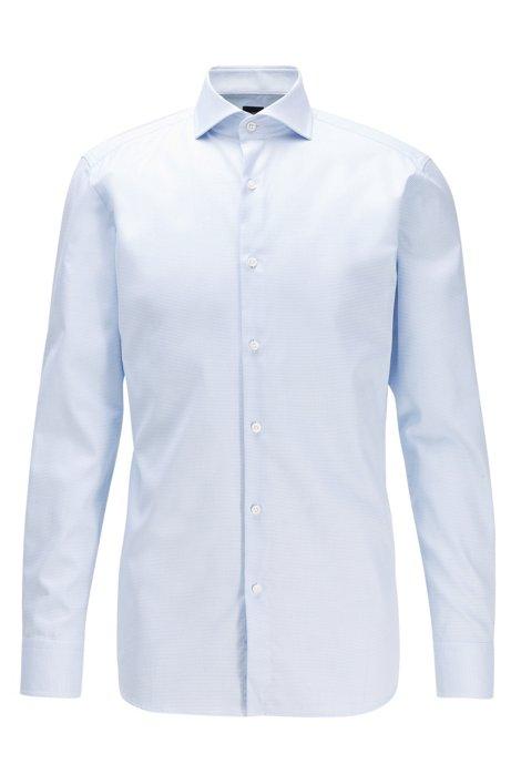 Slim-fit shirt in anti-wrinkle cotton, Light Blue