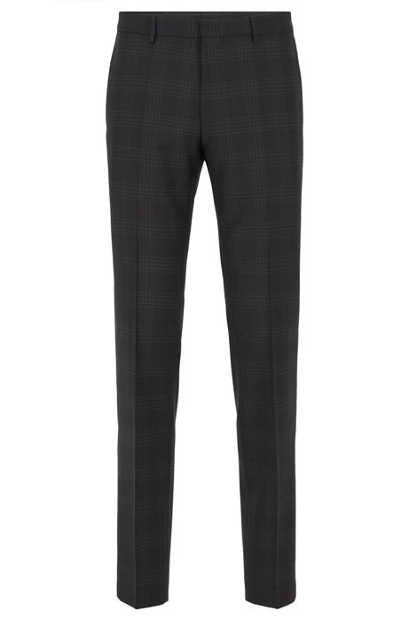 Slim-fit pants in checkered virgin wool, Black