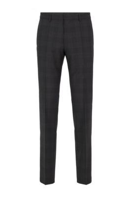 Slim-fit pants in checkered virgin wool, Black