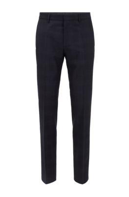 Slim-fit pants in checkered virgin wool, Dark Blue