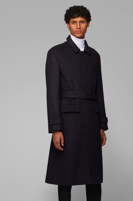 Relaxed-fit coat in virgin wool with detachable belt, Black