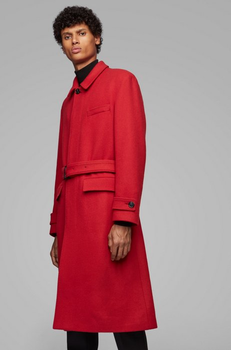 Relaxed-fit coat in virgin wool with detachable belt, Red
