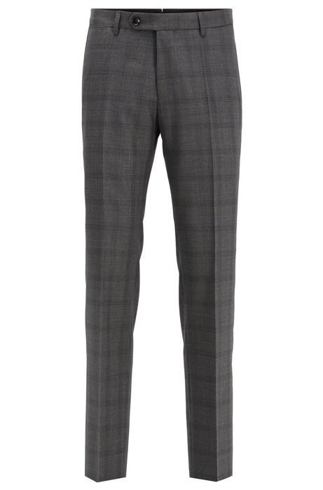 Slim-fit pants in checkered virgin wool, Grey