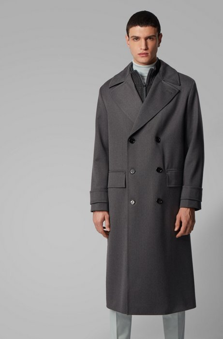 Relaxed-fit virgin-wool coat with double-breasted closure, Open Grey