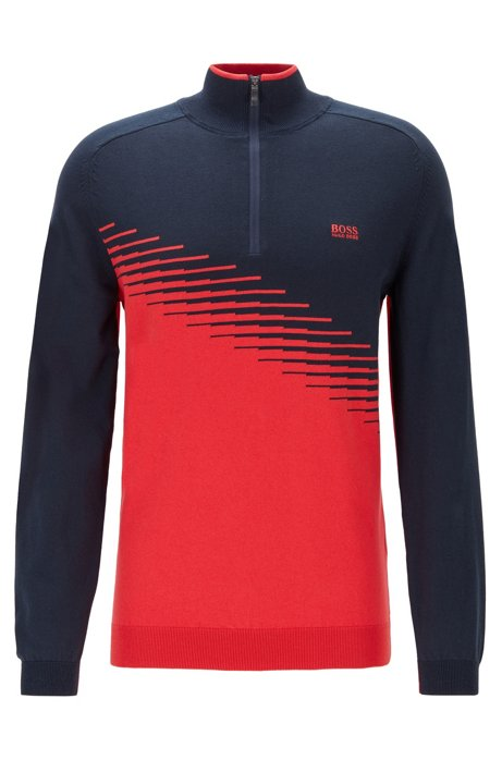 Color-block golf sweater in water-repellent fabric, Red