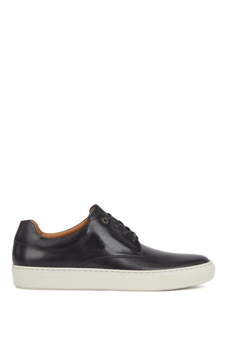 Low-top sneakers in smooth calf leather, Dark Blue