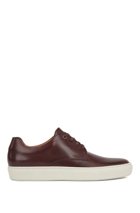 Low-top sneakers in smooth calf leather, Dark Red