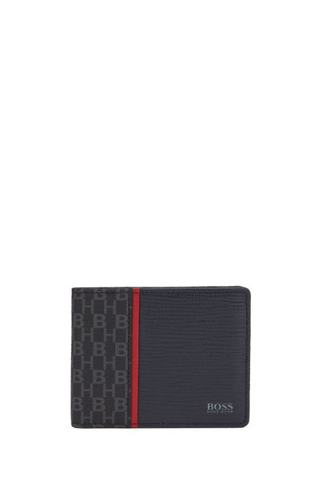 Mixed-material billfold wallet with monogram print, Dark Blue