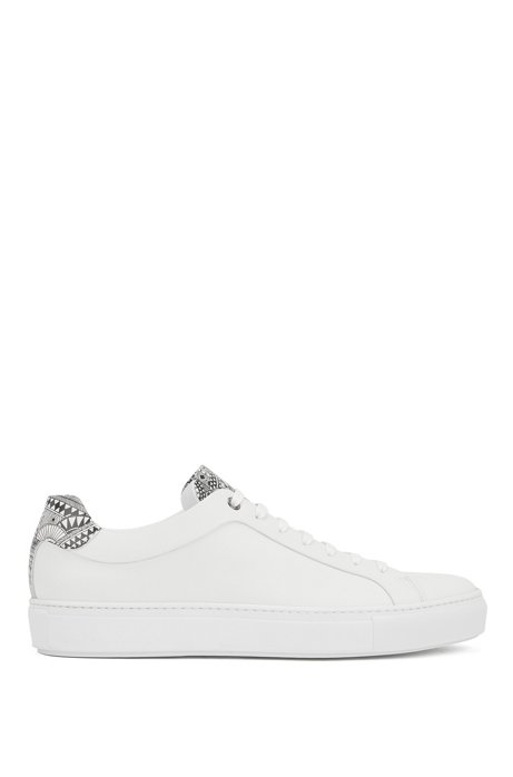 Italian-crafted low-top sneakers with Meissen print, White