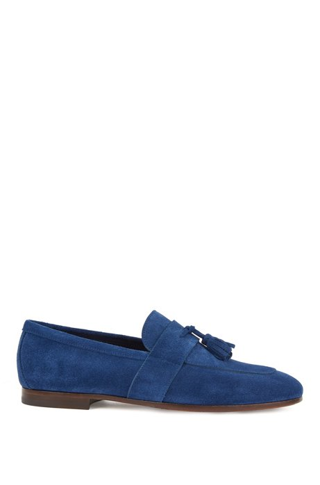 Suede loafers with tassel trim, Dark Blue