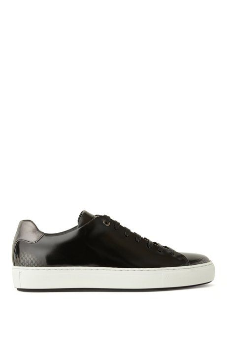Tennis-inspired trainers in brush-off leather, Black