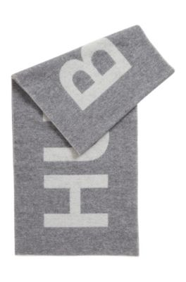 Logo-jacquard scarf in a brushed wool blend, Grey