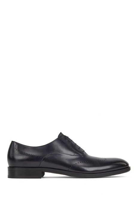 Leather Oxford shoes with modern broguing, Dark Blue