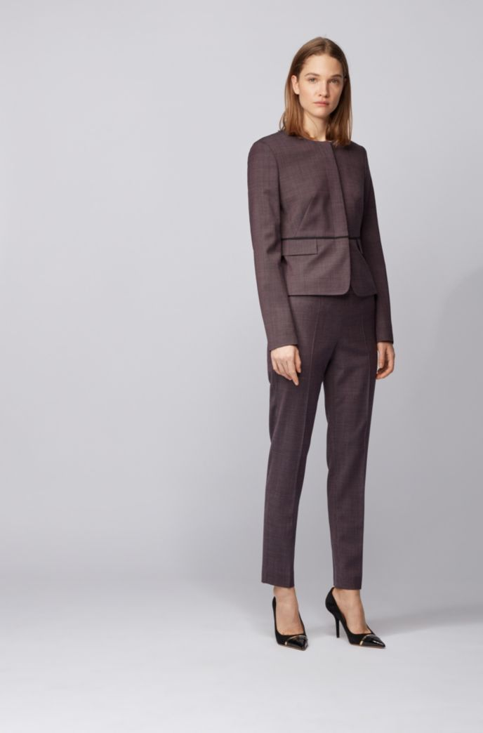 Regular-fit cropped pants in micro-patterned stretch fabric