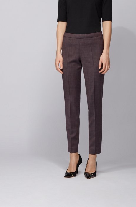 Regular-fit cropped pants in micro-patterned stretch fabric, Patterned