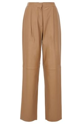 Regular-fit pants in plongé leather, Light Brown