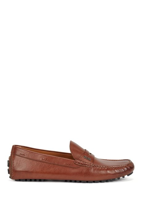 Grained-leather moccasins with branded hardware, Brown