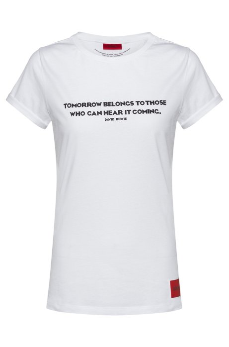 Slim-fit T-shirt in organic cotton with collection slogan, White