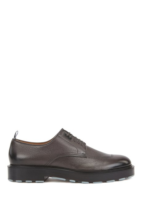 Italian-made Derby shoes in tumbled leather with rubber heel, Grey