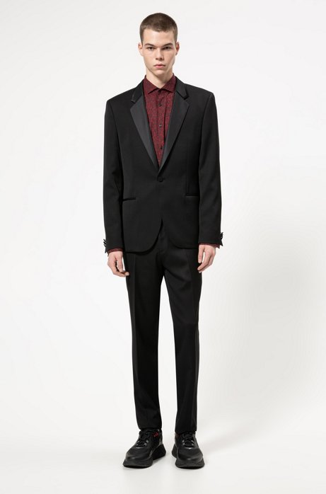Extra-slim-fit tuxedo with silk trims, Black