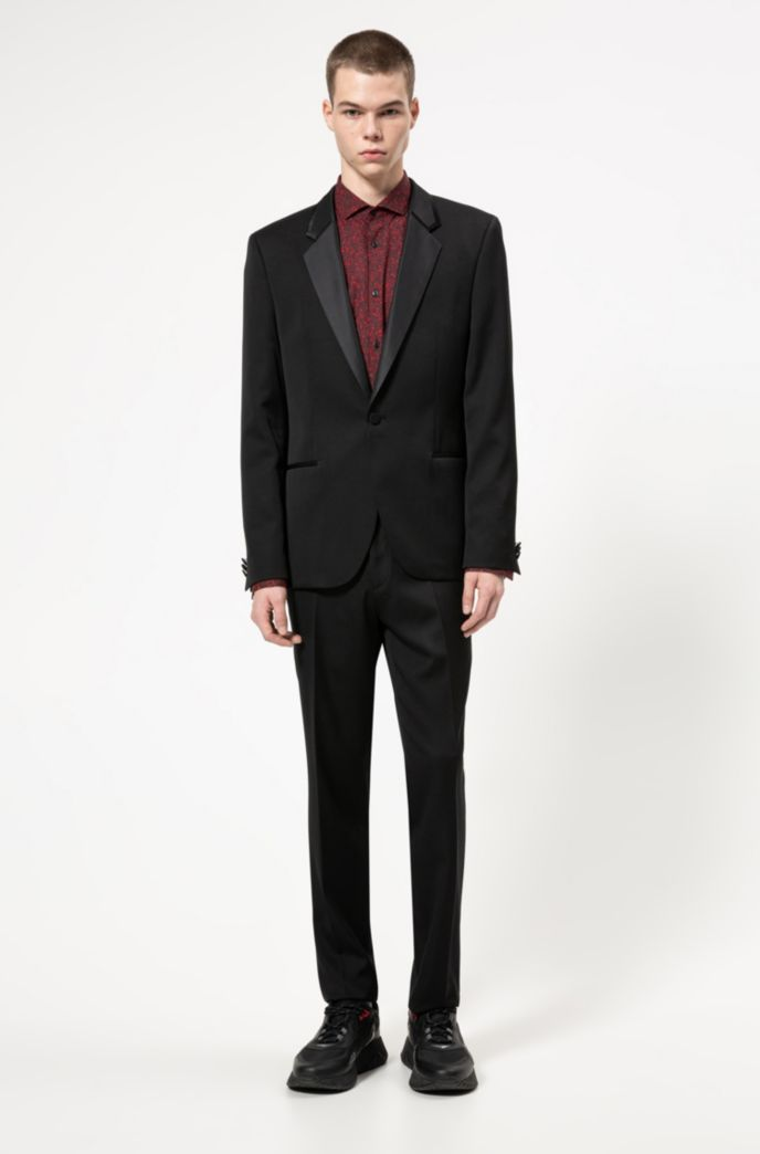 Extra-slim-fit tuxedo with silk trims