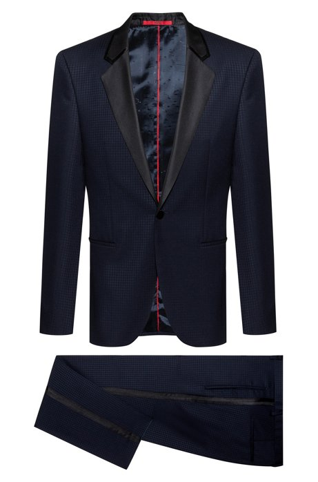Extra-slim-fit tuxedo in patterned virgin-wool serge, Dark Blue