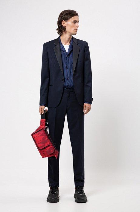 Extra-slim-fit tuxedo in patterned virgin-wool serge, Dark Blue