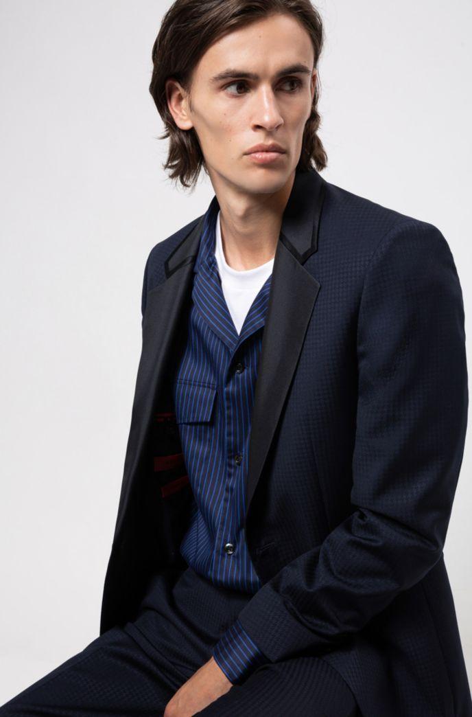 Extra-slim-fit tuxedo in patterned virgin-wool serge
