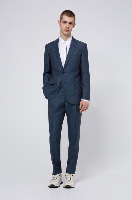 Regular-fit suit in micro-patterned virgin-wool serge, Turquoise