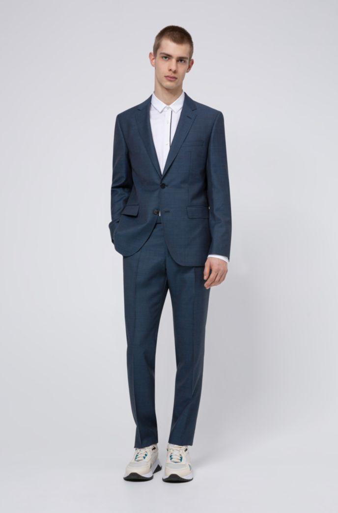 Regular-fit suit in micro-patterned virgin-wool serge
