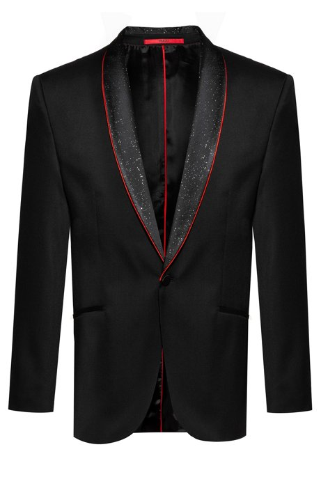 Extra-slim-fit evening jacket with stardust shawl lapels, Black