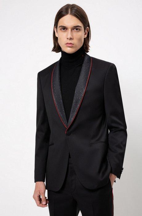 Extra-slim-fit evening jacket with stardust shawl lapels, Black