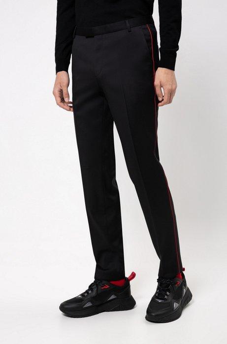 Extra-slim-fit pants in exclusive virgin-wool twill, Black