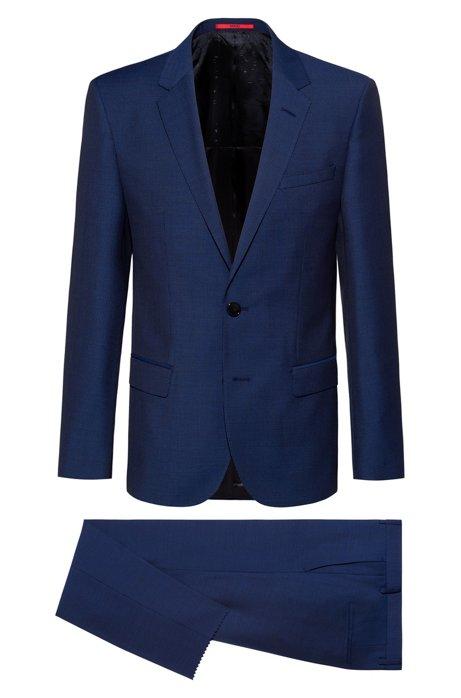 Slim-fit suit in patterned virgin wool, Blue